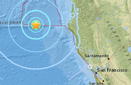 A 5.7 quake jolted the coast of Humboldt County on Friday afternoon. (USGS)