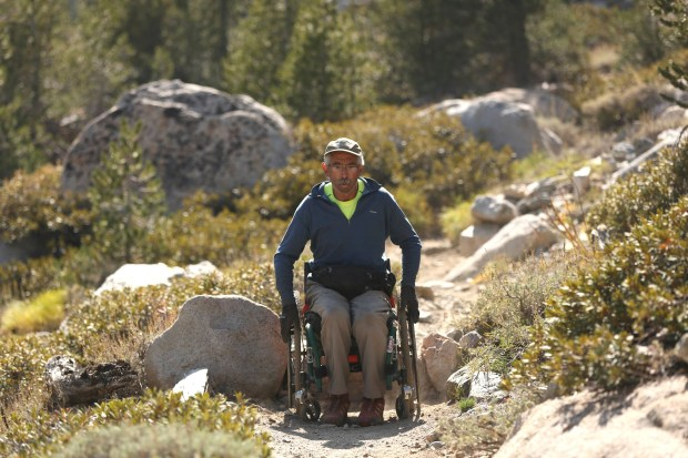 """""""4 Wheel Bob"""" is a documentary about wheelchair athlete Bob Coomber -- a Piedmont native and Livermore City Council member -- and his attempts to scale the torturous trail over the 11,845-foot Kearsarge Pass in the eastern Sierra in September 2013 and in September 2014. The documentary will be shown March 21 at the Albany FilmFest. (Courtesy of Tal Skloot)"""
