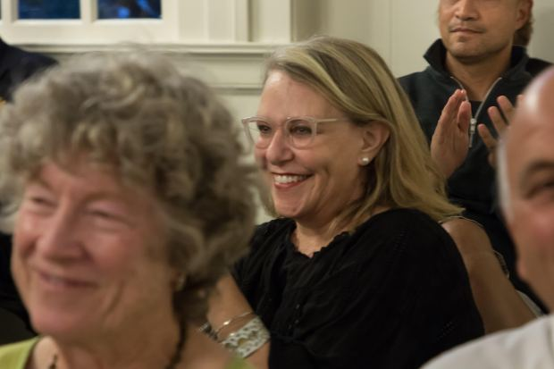 Conna McCarthy applauds the nomination of Robert McBain as new Piedmont mayor on Tuesday night. Also in the photo, from left, are Julie Walsh, Roderick Alemania and Dimitri Magganas. McCarthy, daughter of the late state Lt. Gov. Leo McCarthy, had pushed for the resignation of Jeff Wieler as mayor and from the City Council because of Wieler's offensive social media posts and comments. (Courtesy of Paul Kuroda)