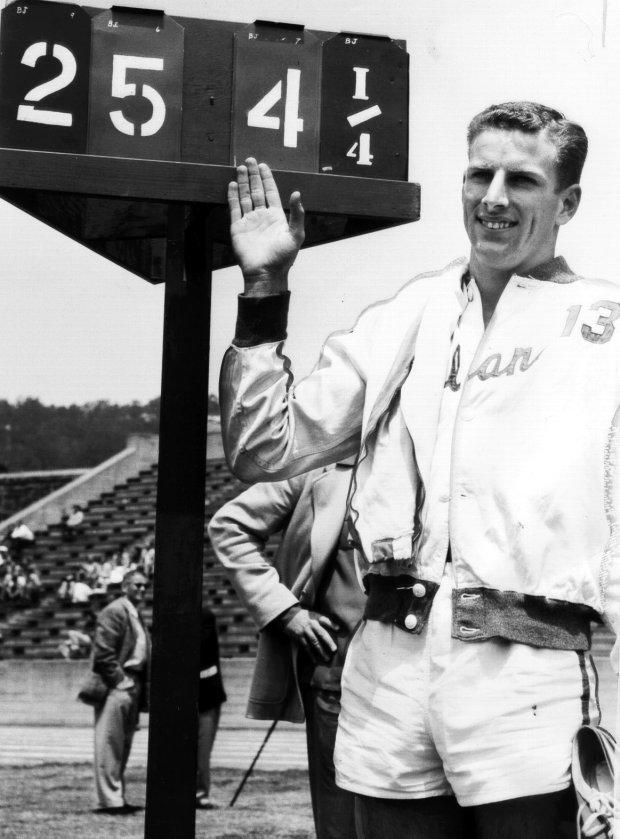 file photo 1954 Tribune newsPiedmont's Monte Upshaw, the day he broke Jesse Owen's long jump record.
