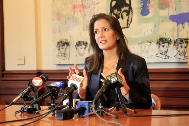 Mayor Libby Schaaf holds a press conference at Oakland City Hall in Oakland, Calif., to talk about the decision by the Oakland Athletics to pursue the Peralta District land for a new ballpark on Wednesday, Sept. 13, 2017. (Laura A. Oda/Bay Area News Group)