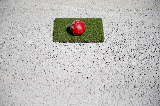 A cricket ball is photographed on a sample of turf that will be used on a new cricket pitch at Windemere Ranch Middle School on Monday, Oct. 2, 2017, in San Ramon, Calif. (Aric Crabb/Bay Area News Group)