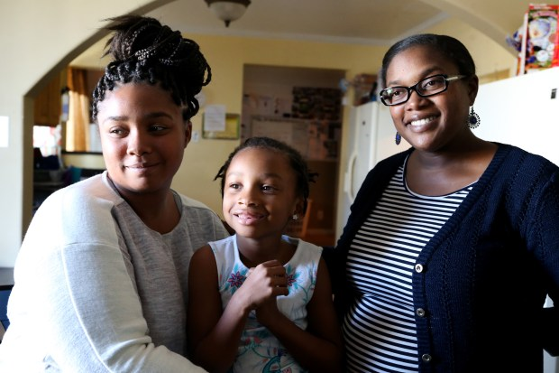 Dajonna Benjamin, 22, left, her 5-year-old daughter Leniyah Dugan are photographed at transitional housing for foster youth of the housing program in Oakland, Calif., on Thursday, Oct. 20, 2017. The program is part of Beyond Emancipation which provides several programs to help former foster and probation youth to overcome challenges and make successful transitions to adulthood and independent living. (Ray Chavez/Bay Area News Group)