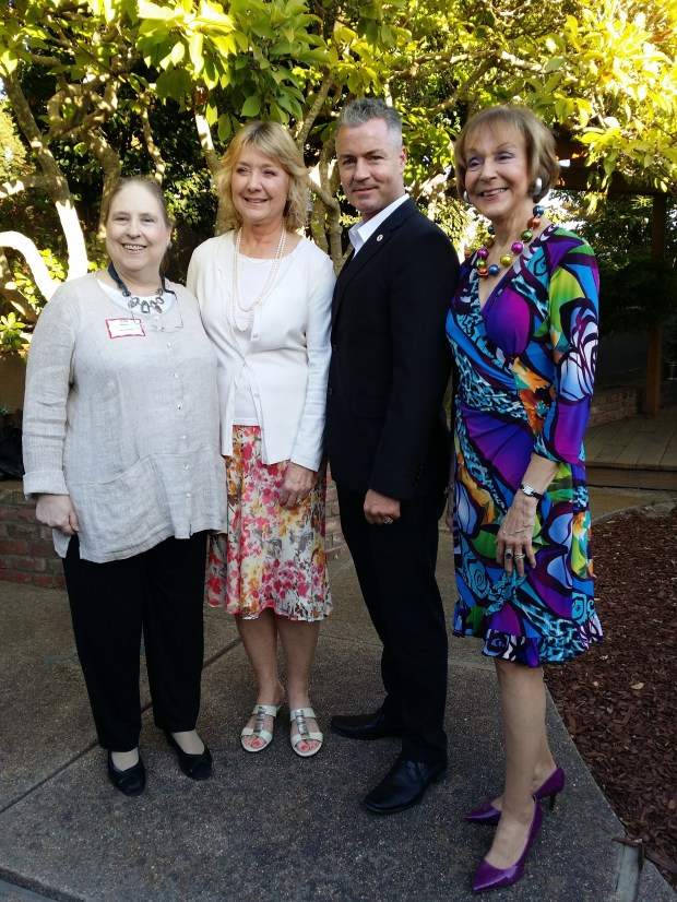 Piedmont Area Republican Women federation recently hosted Assemblyman Travis Allen, R-Huntington Beach. Allen is running for governor in 2018. Shown, from left, are: Jean Wieler, PARW president; Sue Caro, California GOP regional vice chair Bay Area; Allen; and Roseann Slonsky-Breault, California Republican Women Federated, past president. (Courtesy of Paul Bailey-Gates)