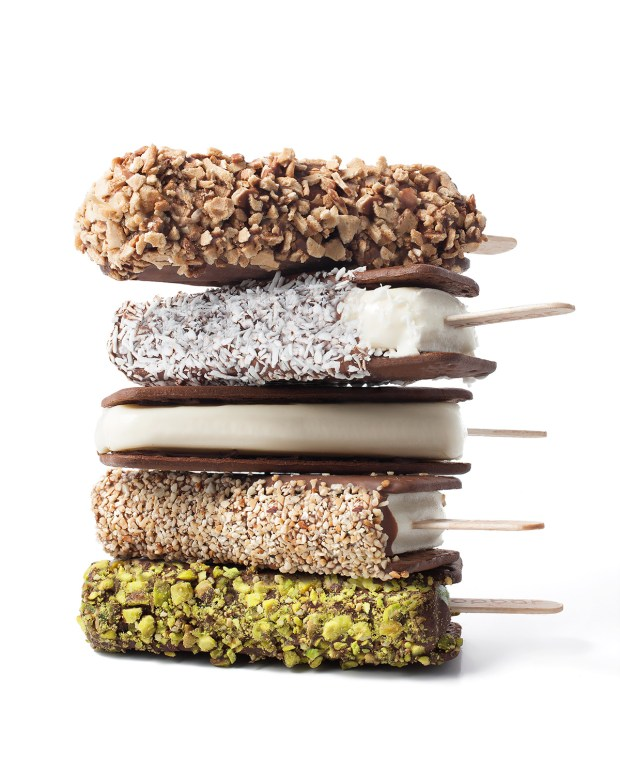 The Popwich, a gelato sandwich dipped in chocolate and covered in nuts or coconut.