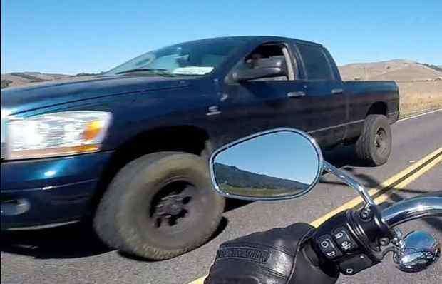 A motorcyclist with a helmet camera took this photo of the vehicle suspected in the hit-and-run of bicyclists in West Marin on Saturday. (Courtesy California Highway Patrol)