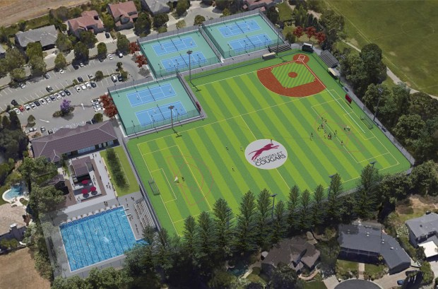 An artist's rendering of Carondelet High School's new 6-acre athletic complex that includes the Natalie Coughlin Aquatics Center. Coughlin, a three-time Olympic gold medalist, graduated from the Concord all-girls high school in 2000. The Walnut Creek campus is expected to open in early 2018.