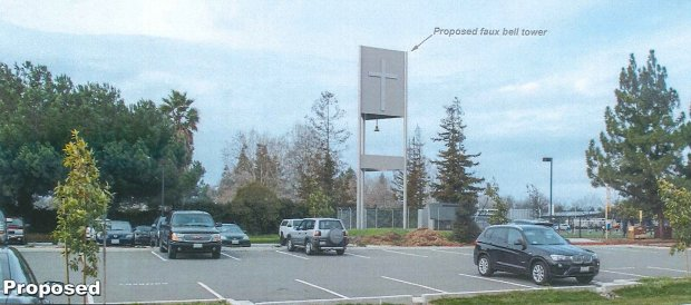 A rendering from Verizon Wireless shows what the proposed bell tower thatwould conceal a cell tower would look like on the property of Our Lady of Guadalupe Parish in Fremont. (Image courtesy Verizon Wireless)