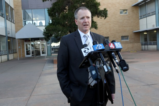 Deputy District Attorney Derek Butts speaks with the media outside the Contra Costa County Superior Courthouse following an arraignment hearing for Fred Lowe in Richmond, Calif., on Thursday, Nov. 30, 2017. Lowe, 47, is being held on $4.2 million bail and charged with murdering two adults and two children during a suspected drunken driving crash. (Anda Chu/Bay Area News Group)