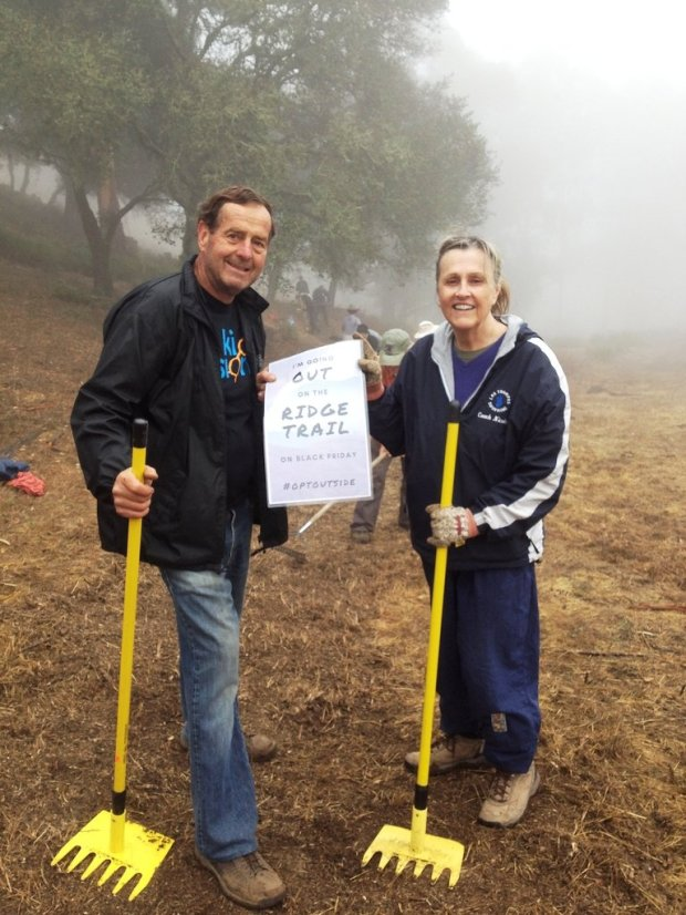 Courtesy Scott KesslerPete and Debbie Duringer announce plans to Opt Outside at a recent work day for the Bay Area Ridge Trail, between the steam trains and Fish Ranch Road.