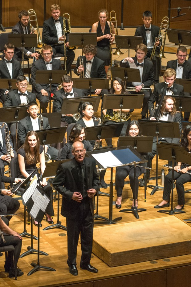Dr. Robert Calonico, director of bands at University of California, Berkeley, leads an April 2015 performance of the 62nd Annual Noon Concert Series with the University Wind Ensemble.
