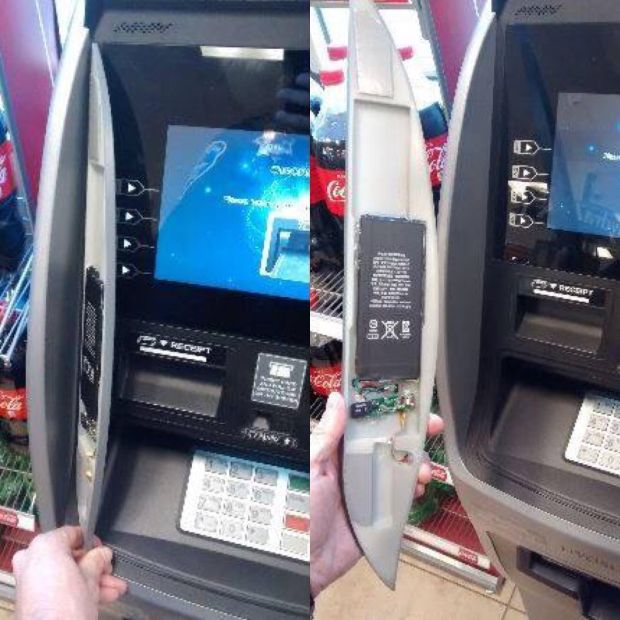 "Hayward police released these images Friday, December 15, 2017 of a ""skimmer"" found recently behind a panel on a gas station ATM."