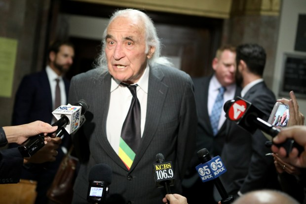 "Defense attorney Tony Serra speaks to the news media following a preliminary hearing for Derick Almena and ""Ghost Ship"" co-defendant Max Harris at the René C. Davidson Courthouse in Oakland, Calif., on Thursday, Dec. 14, 2017. Judge Jeffrey Horner ordered defendants Almena and Harris to stand trial, each on 36 counts of involuntary manslaughter stemming from the deadly Dec. 2, 2016 fire at the warehouse. (Anda Chu/Bay Area News Group)"