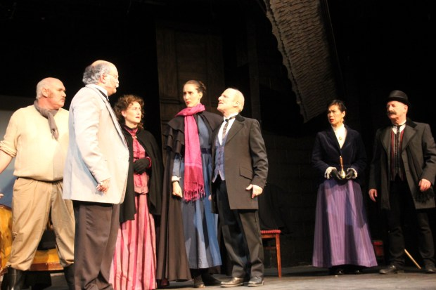 "Included in the cast of Actors Ensemble of Berkeley's production of ""An Enemy of the People,"" are, from left, Michael Callen as Captain Horster, Glen Havlan as Peter Stockmann, Ann Barnett as Catherine Stockmann, Rachael Oliff Yang as Petra Stockmann, Bruce Kaplan as Dr. Stockmann, Lisa Wang as Mrs. Aslaksen, and Randy Simpson as a member of the Ensemble. (Courtesy of Anne Neunsinger)"