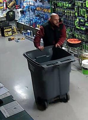 Concord police shared this image Wednesday, Feb. 7, 2018 of a man sought in connection with several recent burglaries, including one at a Concord electrical-supply shop where surveillance-camera footage showed him dumping items into a large wheeled bin.