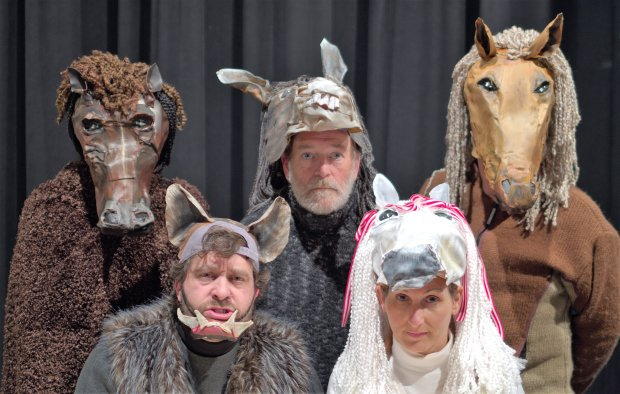 "From left, Terrance Smith, Marc Berman, Joe Fitzgerald, Kira Zabrowski and Craig Eychner star in Role Players ' ""Animal Farm."" Courtesy John Carter"