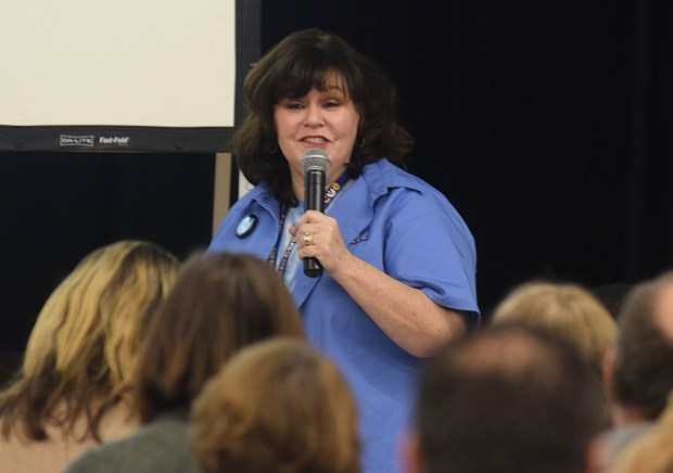 An audience of educators listen to technology teacher Shauna Hawes at the 2018 MDUSD/East Bay CUE's STEM and EdTech Symposium at Valley View Middle School in Pleasant Hill, Calif. on Saturday, Feb. 24, 2018. The event features cutting-edge educational technology. (Sherry LaVars/Special to the East Bay Times)