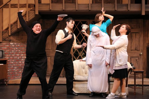 """Actors, from left, David Bryant (Selsdon), Michael Doppe (Garry), BrandyCollazo (Belinda), Ross Neuenfeldt (Frederick) and Jennifer Stark (Dotty) star in Pacific Coast Repertory Theatre's """"Noises Off,"""" playing at the Firehouse Arts Center in Pleasanton through Feb. 11."""