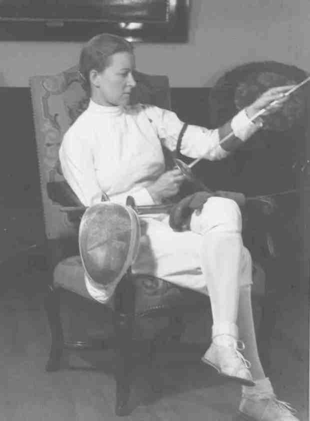 """West Coast Fencing ArchiveHelene Mayer (1910-1953), seen here in the 1940s and nicknamed """"The Queen,"""" won a gold medal at the 1928 Olympics in Amsterdam and also competed in the next two Olympiads, claiming a silver medal at the Berlin Games of 1936. She later taught fencing and German at Mills College."""