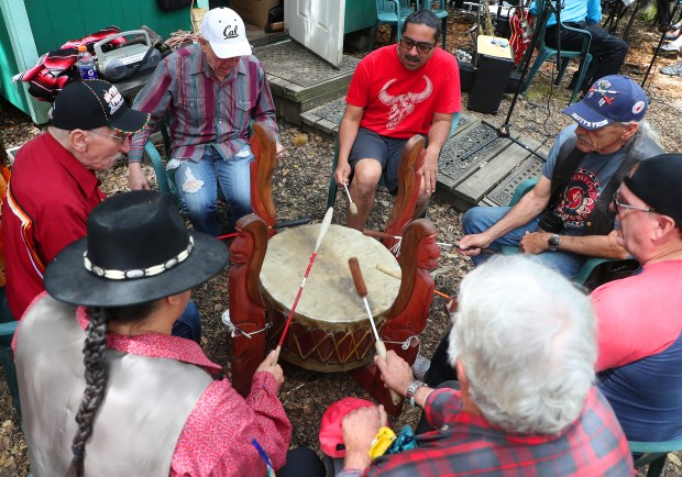 A group of Native American drummers perform during a Wildlife Festival at the Wagner Ranch Nature Area on Sunday, April 22, 2018, in Orinda, Calif. (Aric Crabb/Bay Area News Group)
