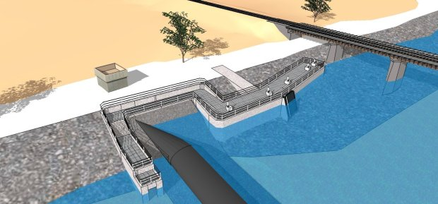 This digital rendering shows what a fish ladder planned for Alameda Creekwest of a railroad overcrossing in Fremont will look like when complete. The ladder will provide a series of ascending pools for fish to use to get up and around the Alameda County Water District rubber dams and other structures in the creek. (Image courtesy Alameda County Water District)