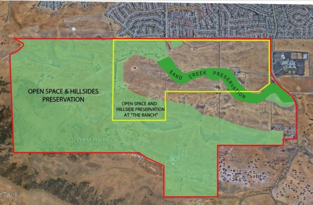 Area affected by the initiative is outlined in red. Green areas would bezoned for rural residential, agricultural and open space purposes. The Ranch project area is outlined in yellow and would be single family homes, executive estate housing, senior housing and commercial uses. (Photo courtesy of Gene Endicott of Endicott Communications)