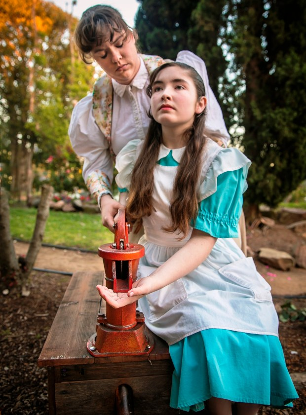 """courtesy of Jim NorrenaEmma Curtin, front, stars as Helen Keller and Samantha Rasler as Annie Sullivan in """"The Miracle Worker"""" at Alameda's Altarena Playhouse from May 25 through June 24."""