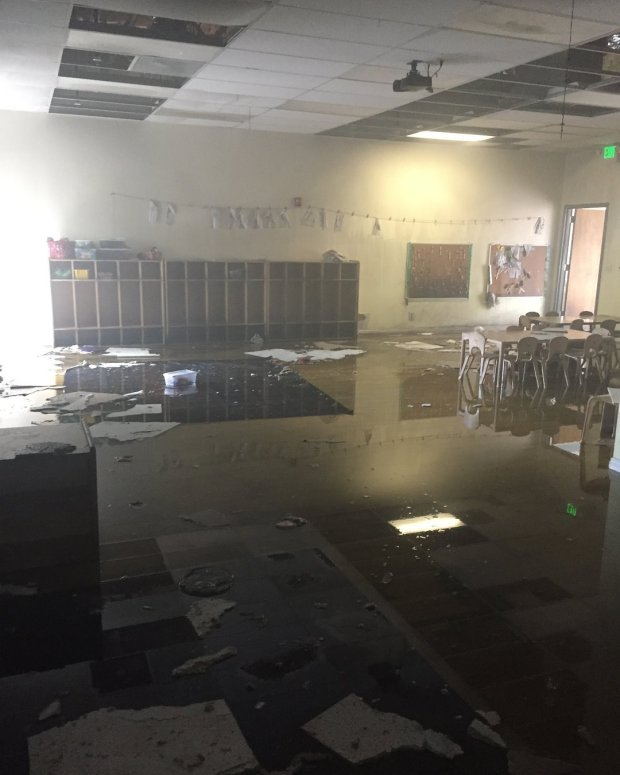Alameda County Fire District firefighters captured water damage Saturday, May 26, 2018 inside one of several rooms at Safari Kid Preschool in Newark, Calif.