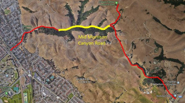 Fremont will close the middle portion of Morrison Canyon Road, a narrow,rural passageway that has become popular with commuters looking for a quicker route to Interstate 680. The portion being eyed for closure is shown above in yellow in a Fremont staff report image.