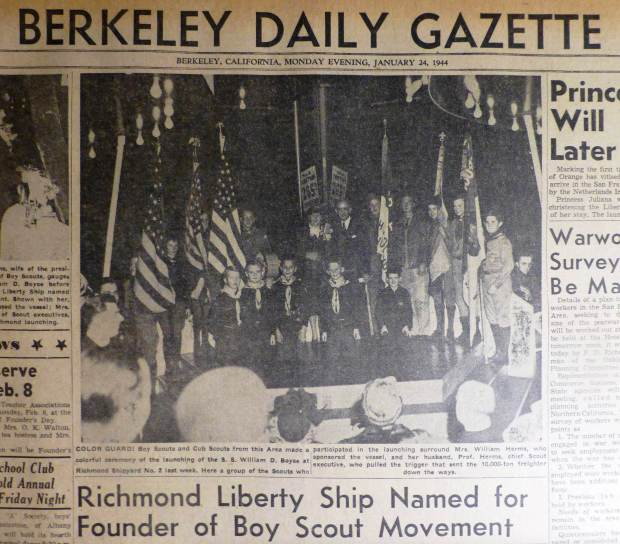 Berkeley, a Look Back: Boy Scouts help launch Liberty Ship