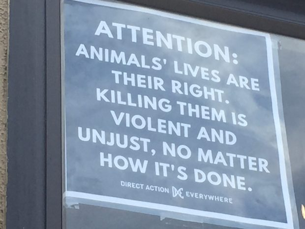 A poster in the window of the Local Butcher Shop that nwas posted last moth after persistent animal rights protests outside the Cedar Street shop. (Tom Lochner/Staff)