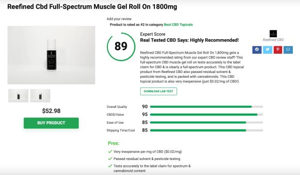 Reefined CBD Full-Spectrum CBD Muscle Gel Roll-On 1800mg