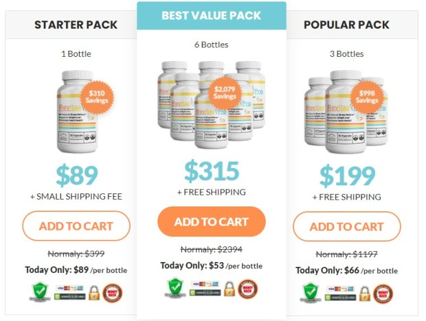 Revitaa Pro packages and pricing