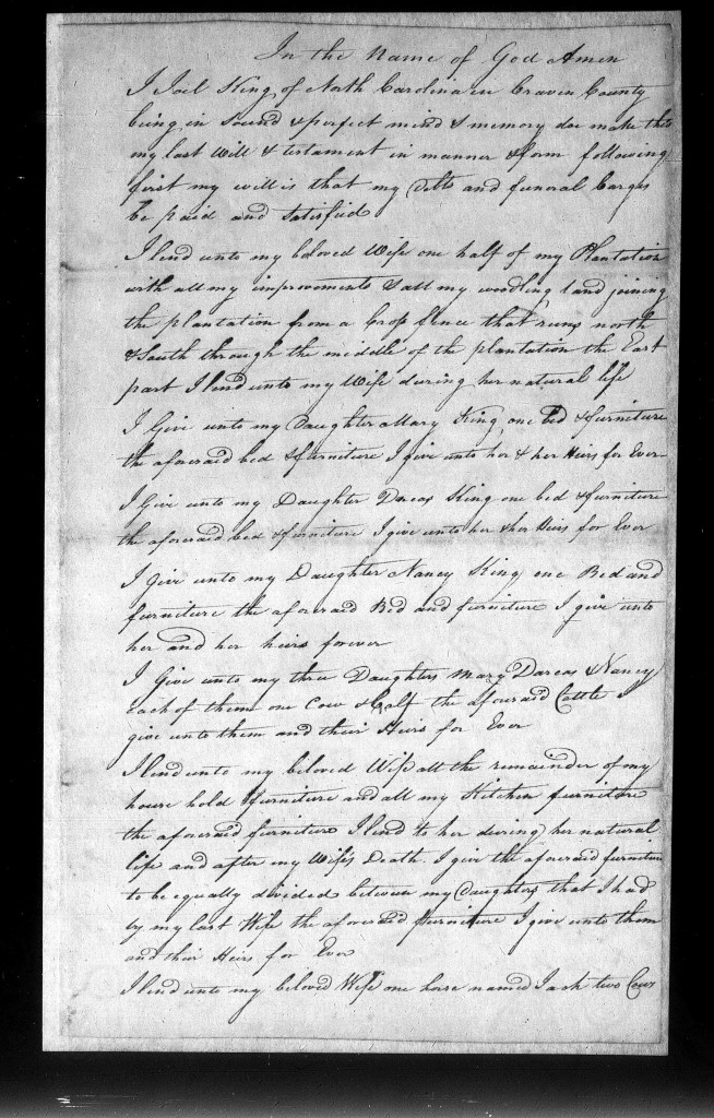 Will of Joel King, 1799 - Craven County