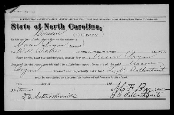 Macon Bryan estate document