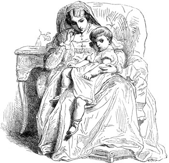 Paul Delaroche etching of mother and child