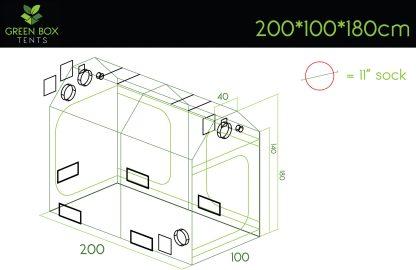 Green Box Roof Grow Tent 200x100x180-dimensions