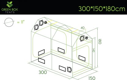 Green Box Roof Grow Tent 300x150x180 Dimensions