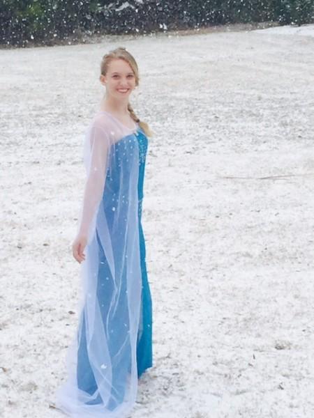 Beautiful girl dressed like Disney's Princess Elsa