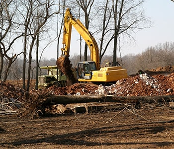 Large Backhoe Clearing Land for Development