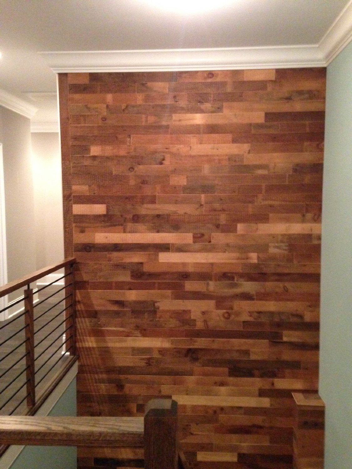 Diy Reclaimed Wood Accent Wall Brown Waxed And Sealed 5 5