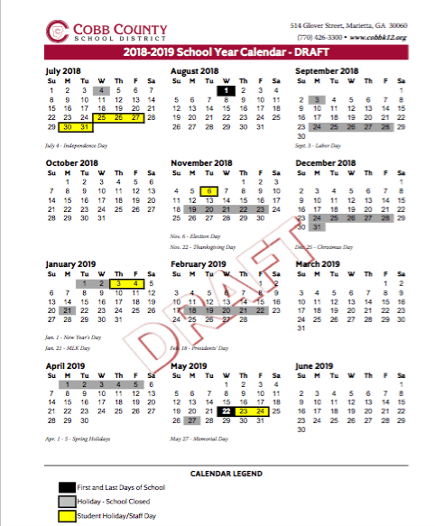 Proposed Cobb School Calendars For 2018 20 Call For Aug 1 Start