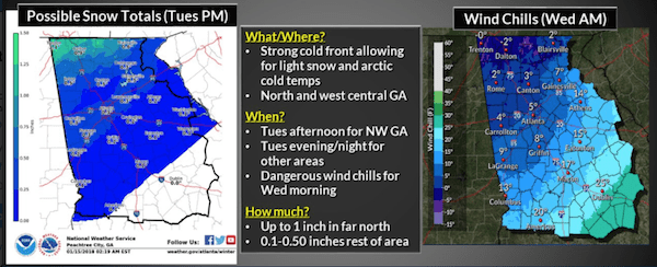 Tuesday Weather Map.Cobb Winter Weather Forecast Chance Of Light Snow Starting Tuesday