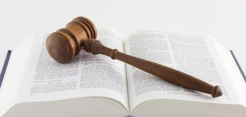 gavel resting on a law book