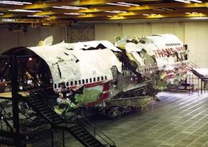 Flight 800 during the investigation at Grumman in Calverton | NTSB photo