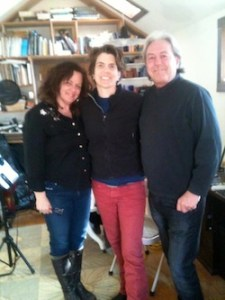 "Caroline Doctorow, Inda Eaton and Russ Seeger during a recording session for ""Little Lovin' Darling"" at Narrow Lane Studios in Bridgehampton."