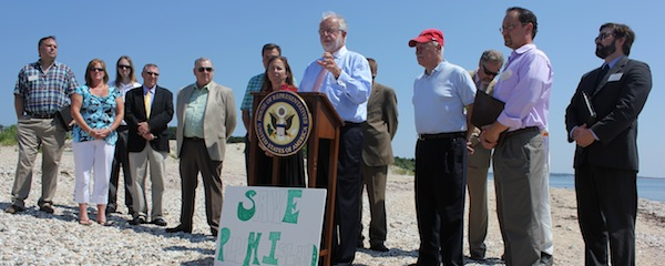 Congressman Tim Bishop held a press conference in Orient this morning to announce he's introducing legislation to keep Plum Island from being auctioned off.