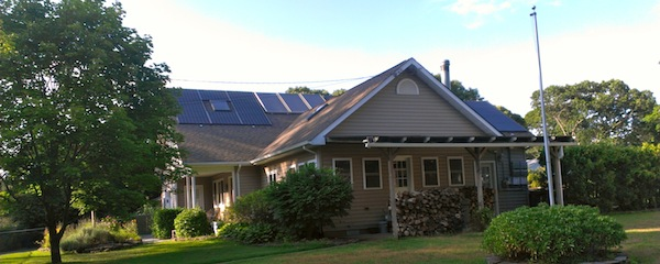 Southampton Town is considering giving a $500 credit to homeowners who buy solar hot water systems. Southampton has, in the past, given credits for photovoltaic solar systems, which don't include solar hot water. This house, in Flanders, already has both systems in place.
