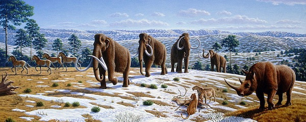 Woolly mammoths in a late Pleistocene landscape in northern Spain | courtesy Mauricio Antón for the Public Library of Science