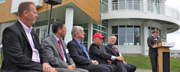 Visiting dignitaries outside the new Stony Brook Southampton Marine Sciences Center